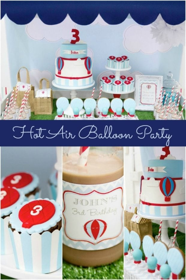 Hot Air Balloon Theme 3rd Birthday Party Spaceships And
