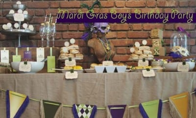 Mardi Gras Boys Birthday Party Dessert Table 033494