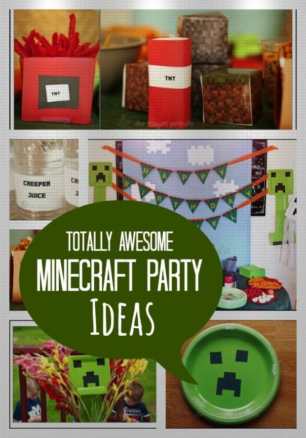 Minecraft themed birthday party spaceships and laser beams for Craft ideas for birthday parties
