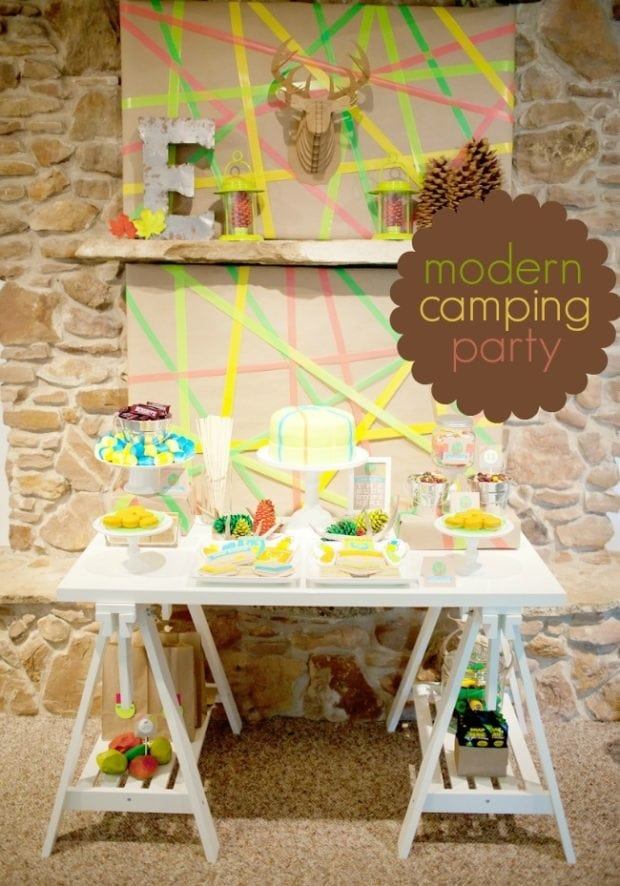 Camping Themed Birthday Party In Neon Spaceships And