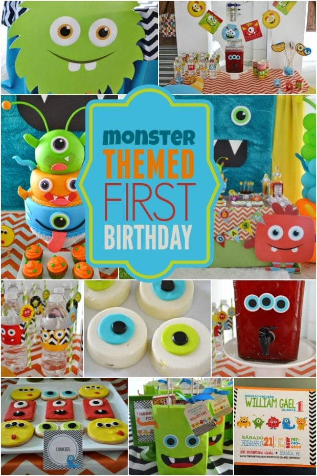 A Little Monster Themed Boy S 1st Birthday Spaceships
