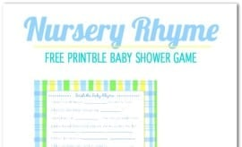 Nursery Rhyme Free Printable Baby Shower Game