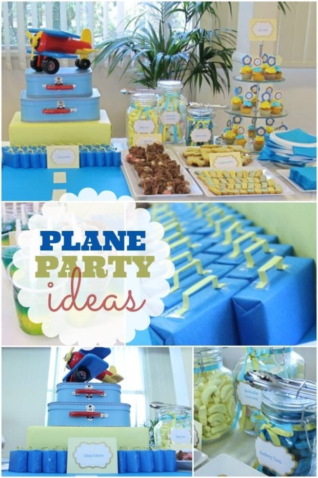 Airplane themed boy 39 s 1st birthday spaceships and laser for 1st birthday party decoration for boys