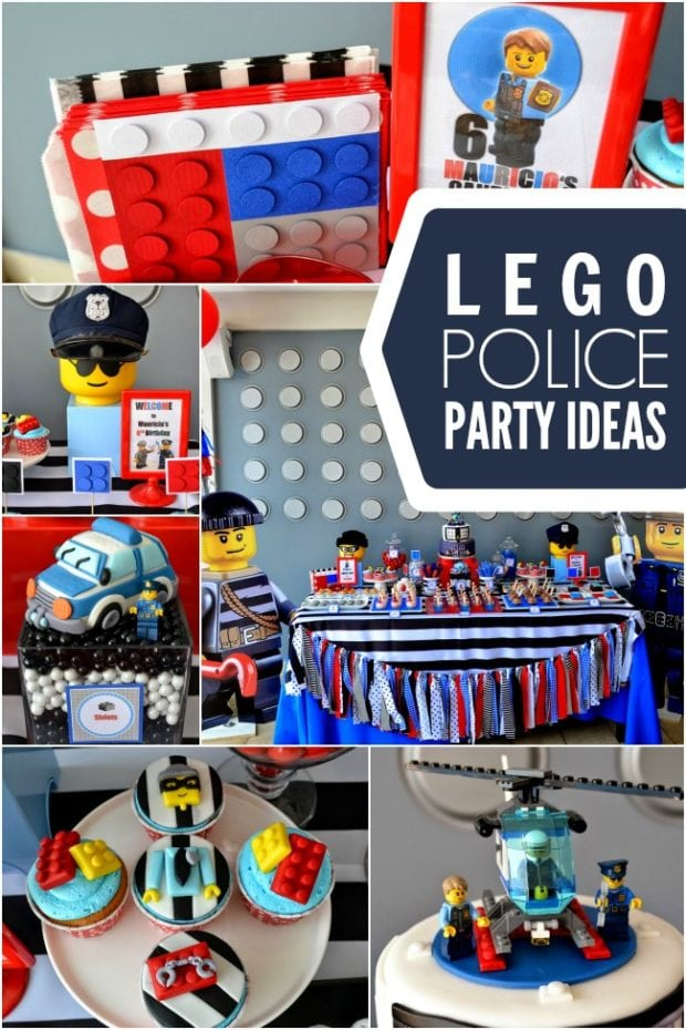 A Police Themed Boy S Lego Birthday Party Spaceships And
