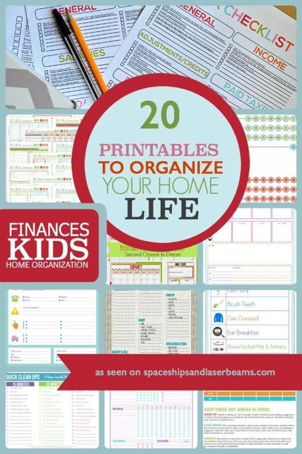 20 printables to organize your home life