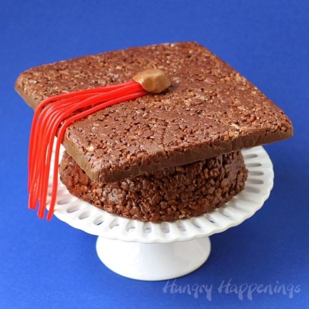 Chocolate Rice Krispies Graduation Cap Treat Idea