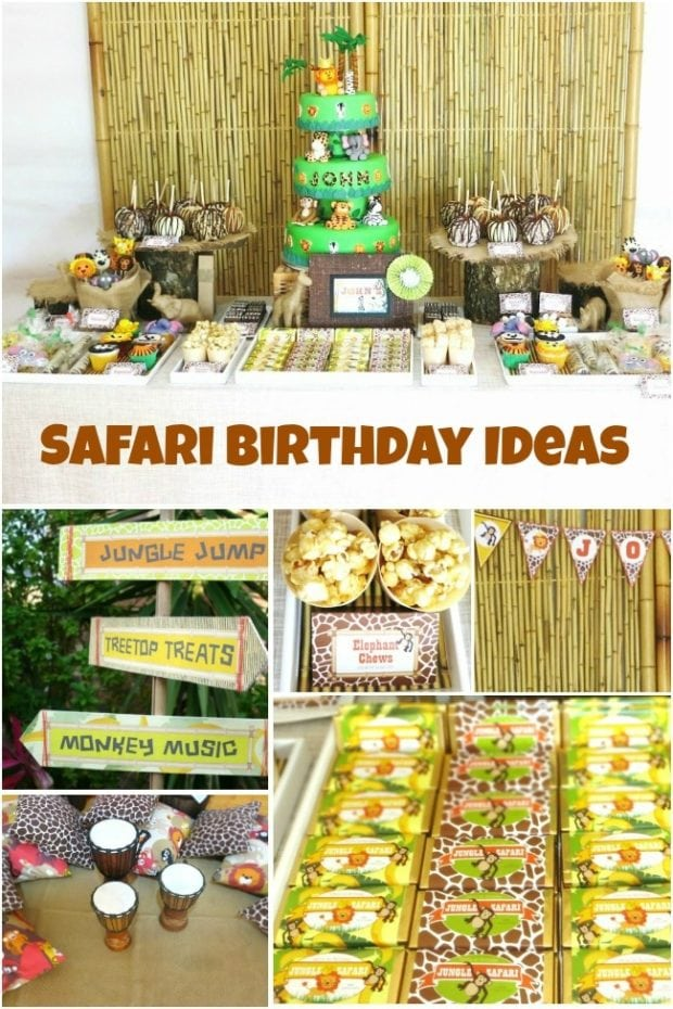 Jungle safari themed first birthday party spaceships and for Animal decoration games