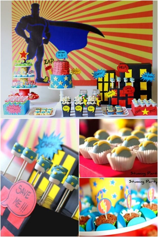 Boys superhero themed 5th birthday party spaceships and for 5th birthday decoration ideas