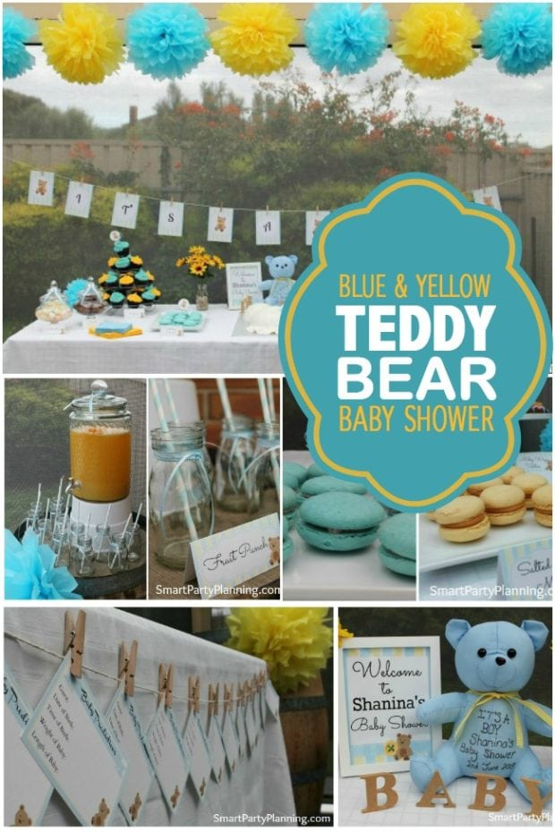 A blue and yellow teddy bear baby shower spaceships and for Baby shower at home decorations