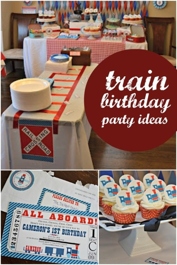 A Boy s Train Themed Birthday Party | Spaceships and Laser ...