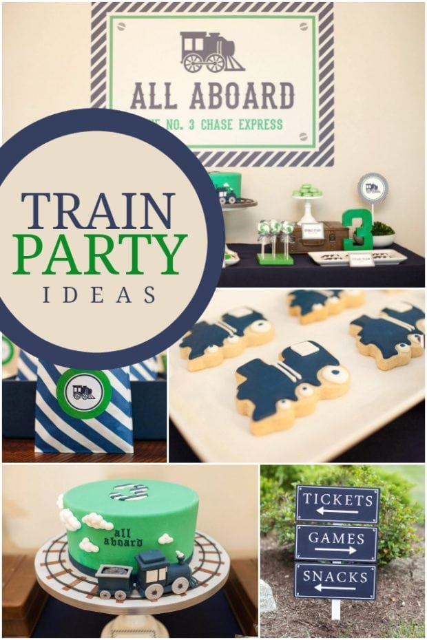 A Boy S Train Themed Birthday Party Spaceships And Laser