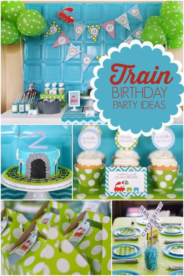 A Modern Train Themed Boy S Birthday Party Spaceships