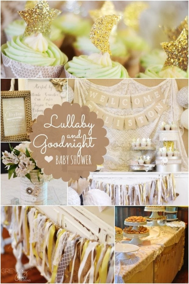 A romantic lullaby and goodnight boy baby shower for Dekoration fur babyparty