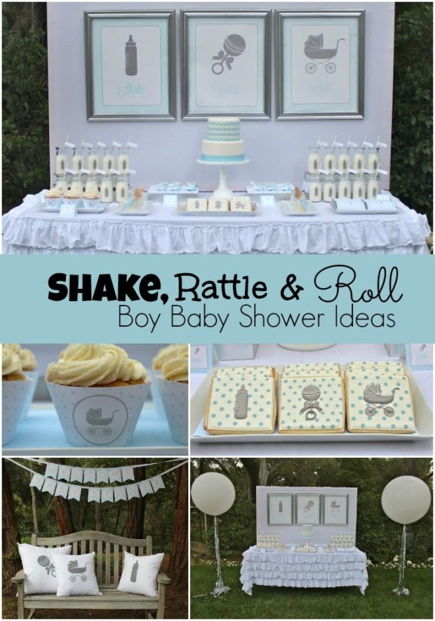 Shake rattle and roll boy baby shower spaceships and for Baby shower decoration ideas boy