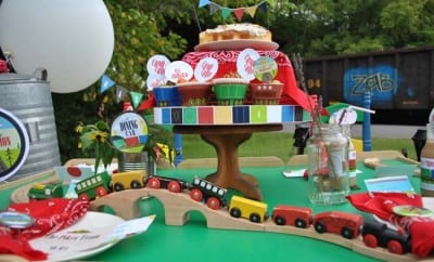 Vintage Train Birthday Party Boys Dessert Table 13