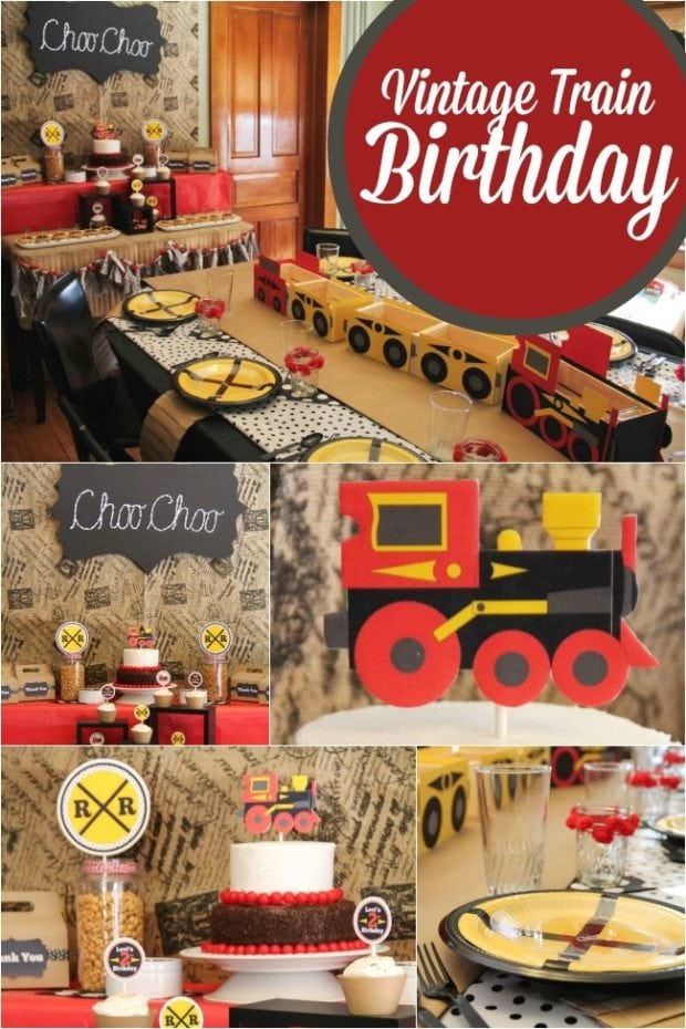 A choo choo train themed boy 39 s 2nd birthday party spaceships and laser beams - Party decorations ideas ...