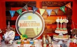 Vintage Train Boys Birthday Party Dessert Table 00100