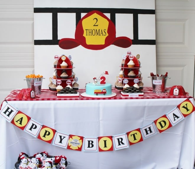 Boy's Fireman Birthday Party Ideas