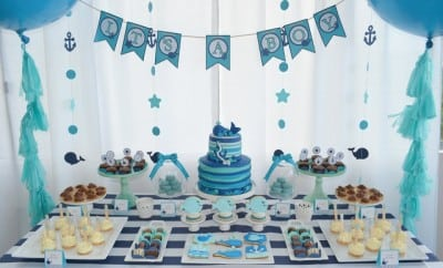 Boy's Blue Whale Baby Shower Ideas