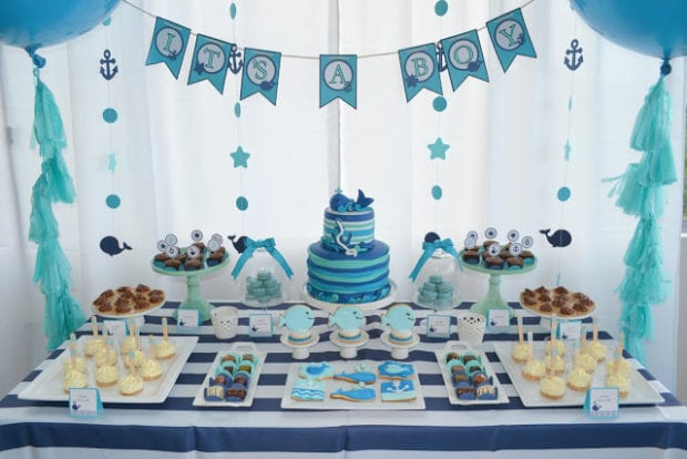 Baby boy first birthday party decorations b wall decal for Baby boy 1st birthday decoration ideas