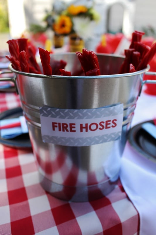 Boys FIreman Themed Birthday Party Food Candy Ideas