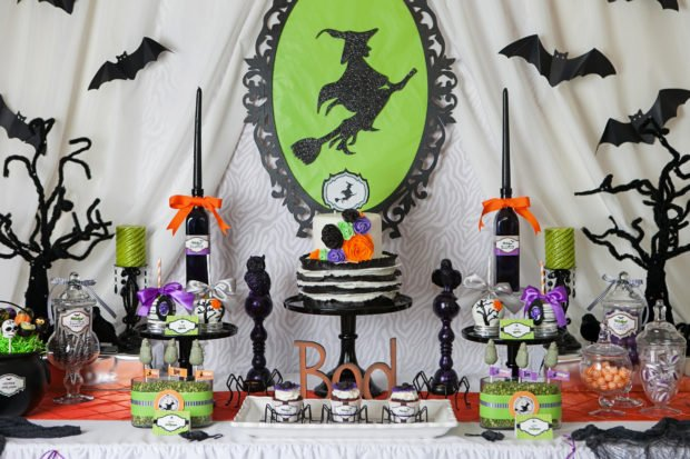 Witch Themed Halloween Party Dessert Table Idea