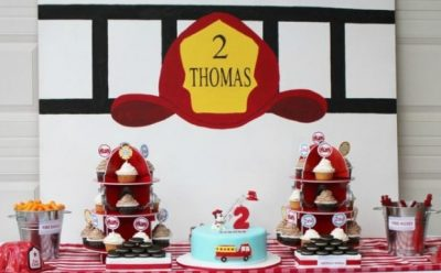 feature-Boys Fireman Themed Birthday Party Dessert Table Ideas