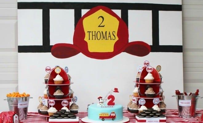 feature-Boys Fireman Themed Birthday Party Dessert Table Ideas