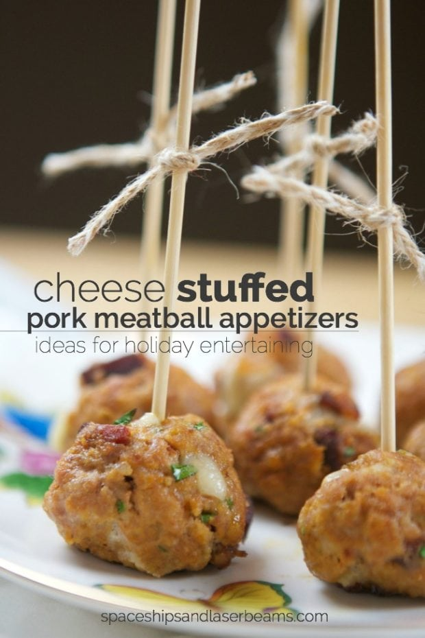 Cheese Stuffed Pork Meatball Appetizers