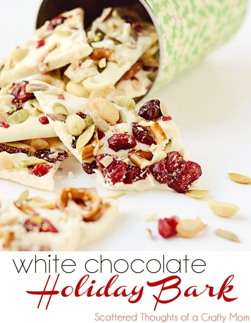 Festive, homemade recipe for White Chocolate Holiday Bark