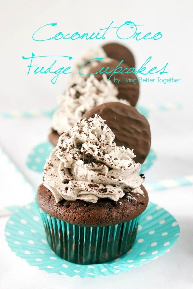 Coconut Oreo Fudge Cupcakes