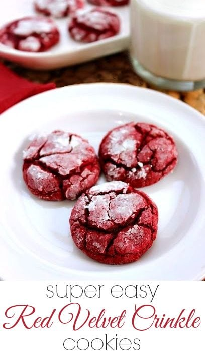 Super Easy Red Velvet Crinkle Cookies