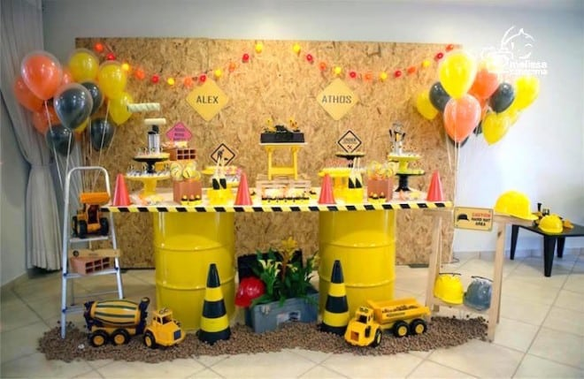 Boy's Construction Themed Birthday Party Dessert Table