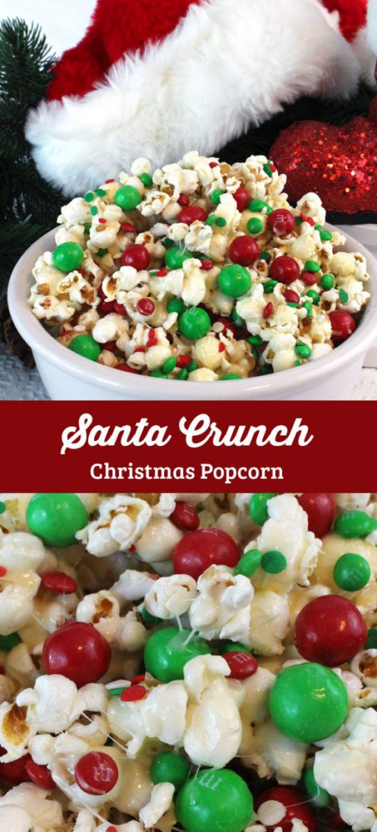 Santa Crunch Christmas Popcorn is fun and easy for the little ones