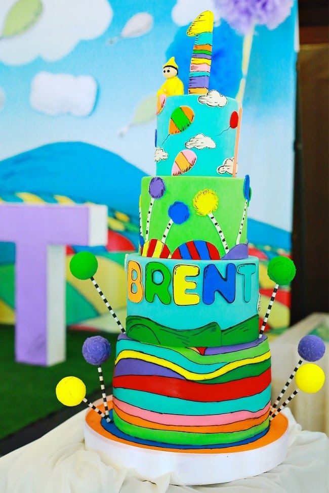 Boy's Seuss Themed Birthday Cake