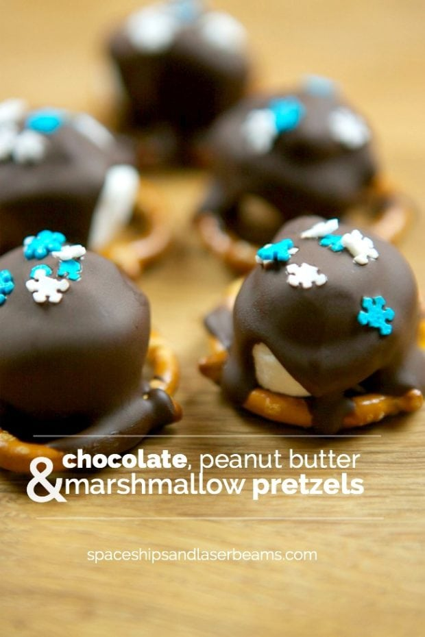 Chocolate, peanut butter and marshmallow pretzels are quick, easy and super festive.
