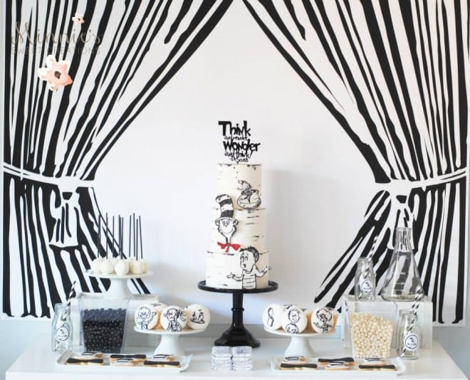 Boys Cat in the Hat Birthday Party Table Idea