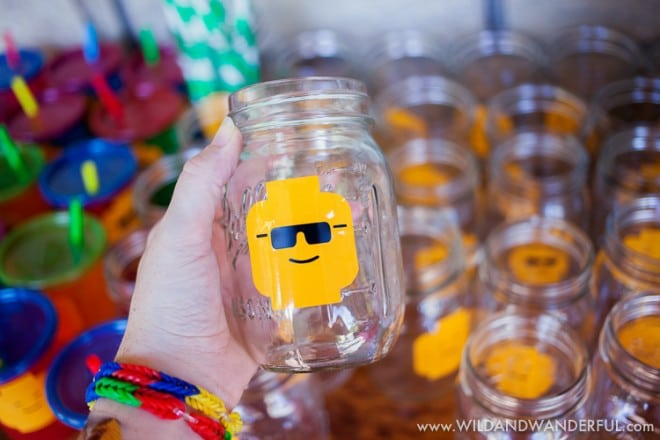 Boys Lego Birthday Party Mason Jar Ideas