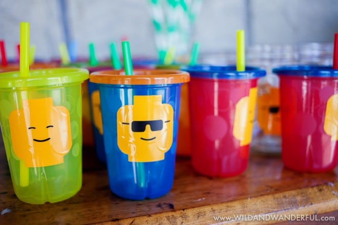 Boys Lego Themed Birthday Party Drink Cup Ideas