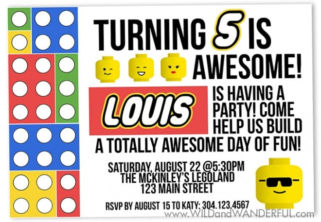 Boys Lego Themed Birthday Party Invitations