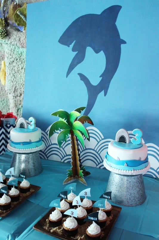 Boys Shark Themed Birthday Party Centerpiece