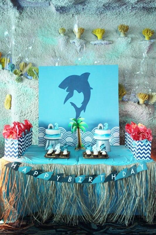 Boys Shark Themed Birthday Party Dessert Table