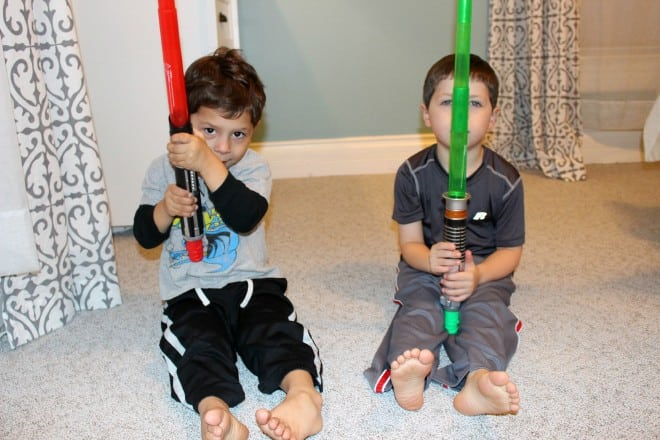 Boys with Star Wars Light Sabers