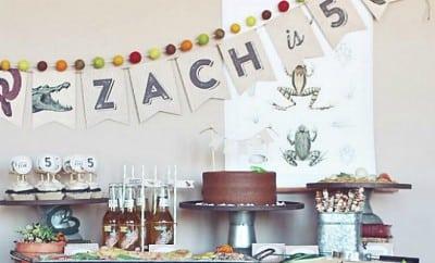 FEATURE-Boys reptiles-amphibians-birthday-party-dessert table