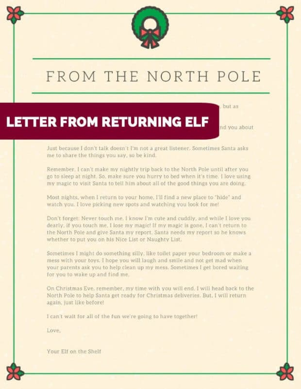 Letter from returning Elf on the Shelf