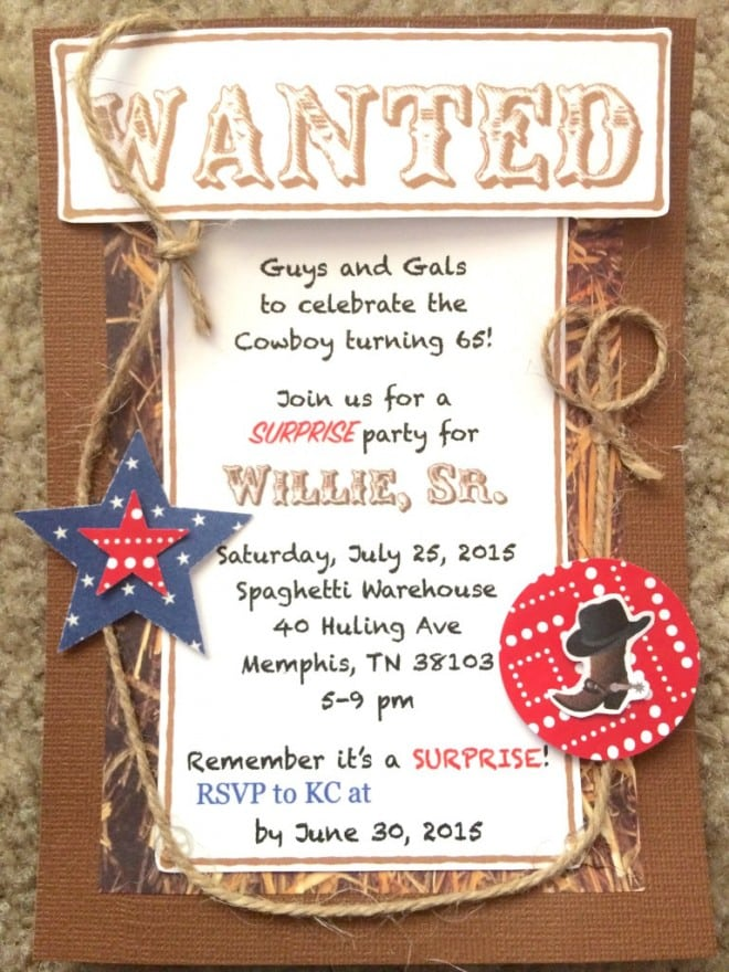 Western Themed Cowboy Birthday Party Invitation