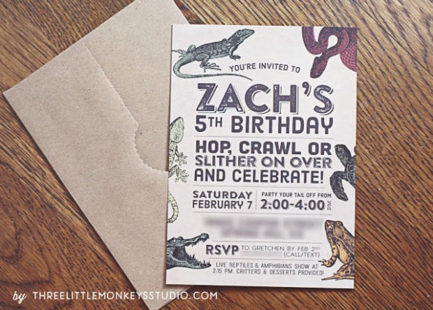 boys reptiles-amphibians-birthday-party-invitation ideas