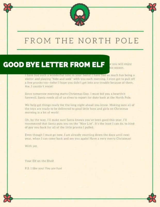 GOOD BYE LETTER FROM ELF ON SHELF