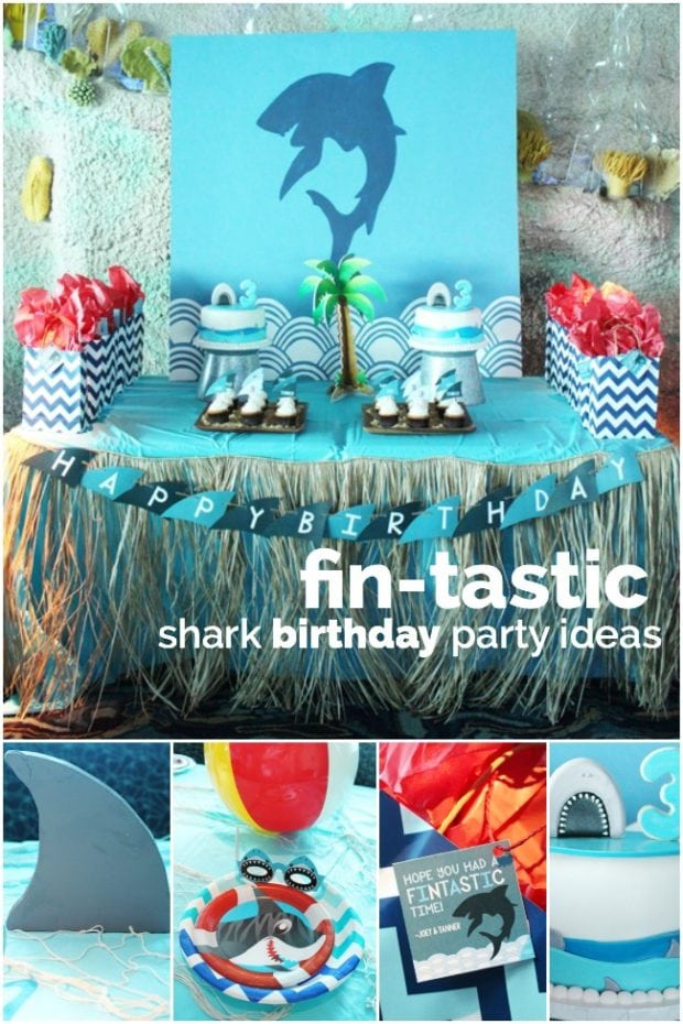 A fin tastic boys 39 shark party spaceships and laser beams for Baby boy birthday party decoration ideas