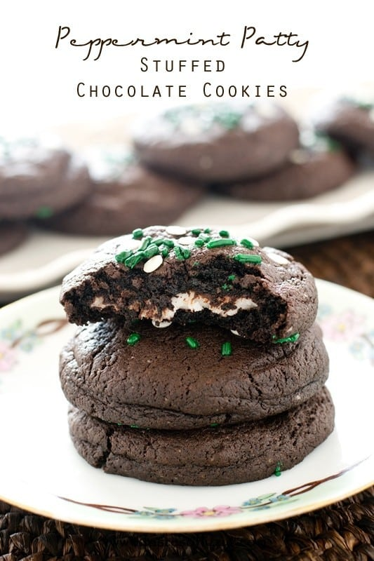 Peppermint Patty Stuffed Chocolate Cookies